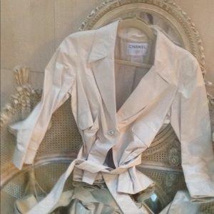 Chanel spring 06P ivory leather jacket